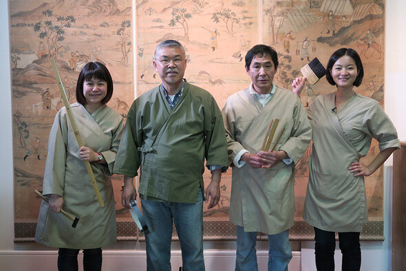 Kress Fellow Amy Chen, Senior Conservator and President of Nishio Conservation Studio Yoshi Nishio, Senior Conservator Kyoichi Itoh, and Assistant Conservator Pei-Ching Liu