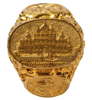 Barnum's gold ring, fashioned with an image of 'Iranistan.'