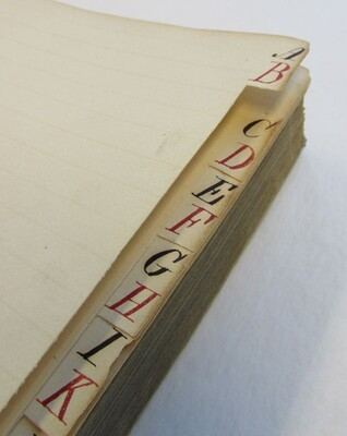 Tabbed index of Barnum's Copy Book
