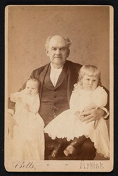 1887 or 1888 Cabinet Card - Barnum holding two of his great-grandchildren.