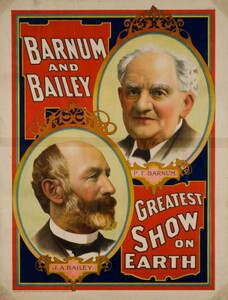 1897 Poster featuring portraits of P.T. Barnum and James A. Bailey, who were business partners in the circus enterprise of that name.