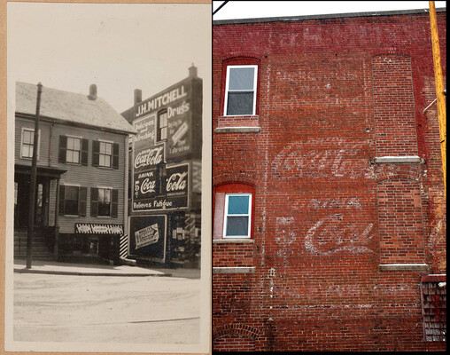 Each photograph in this rare album contains a wealth of information and the research possibilities  are endless. Here is just one example of a Then-and-Now photograph, showing the original sign  and its current view at 194 Winter Street in Haverhill, Massachusetts.