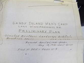 SANDY ISLAND CAMP PROJECT: Preliminary Plan 1938