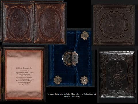 A note about daguerreotypes: Daguerreotype cases were made of two shallow wooden trays hinged together and covered with cloth, leather, or paper. (Image courtesy of John Hay Library Collections at Brown University)