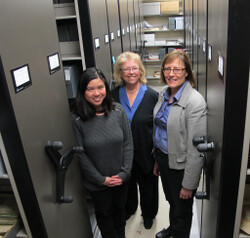 Lincoln Town Archives Staff: Marie Wasnock, Part-time Archivist; Susan Brooks, Town Clerk; Bobbie Myles, Library Director