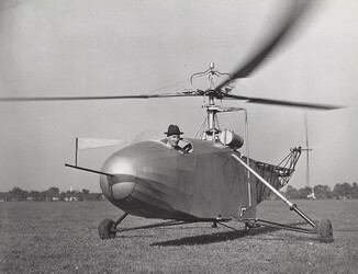 Igor Sikorsky flying the VS-300A helicopter