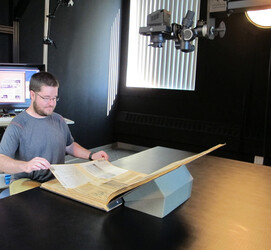The scrapbooks are digitized in NEDCC's Oversize Imaging Studio