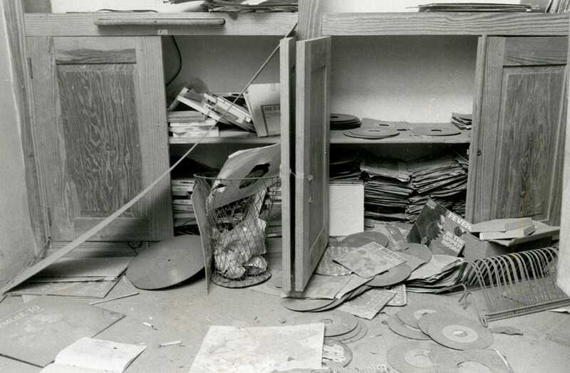 Radio Haiti Station after return in 1986. For six years the tapes and other recordings lay on the ground, filthy and exposed to the elements.
