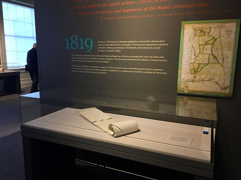 The 1819 constitution on display at the Alabama Department of Archives and History