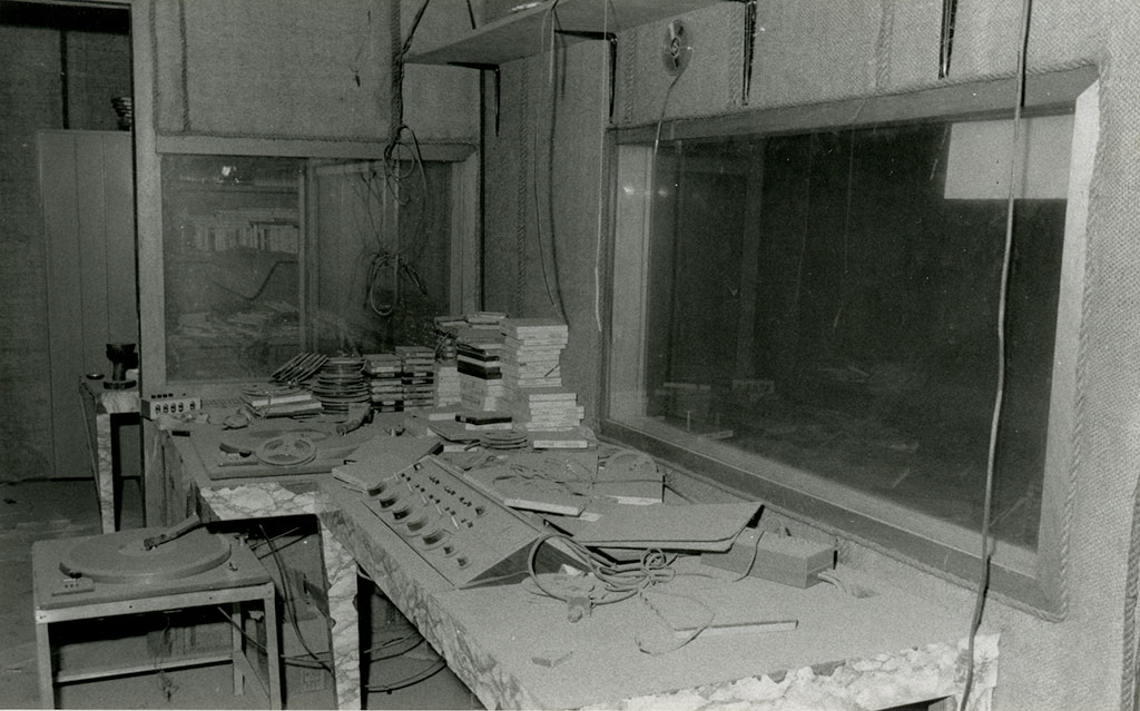 Radio Haiti Station after return in 1986. The station was destroyed, the equipment broken, but the tapes were still there.