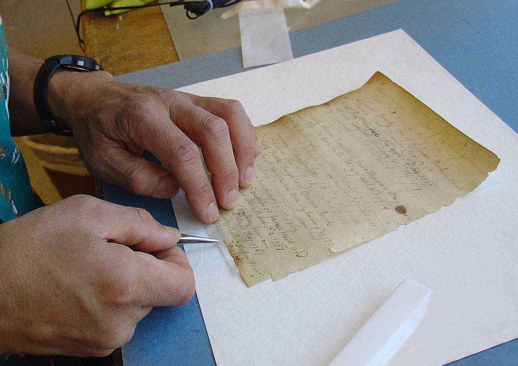 Conservation treatment of Vital Records 1754-1811.