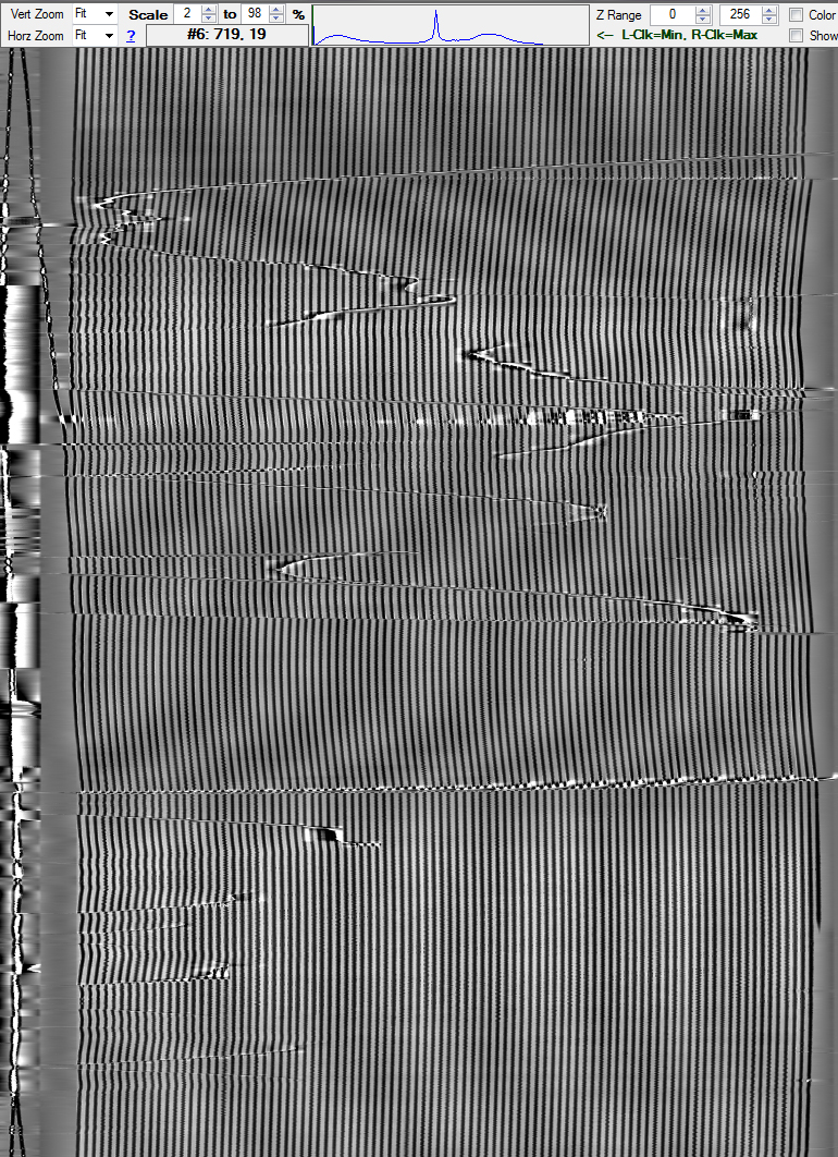 Image of the grooves on the disc resulting from the IRENE imaging process with the 3D camera. © NEDCC