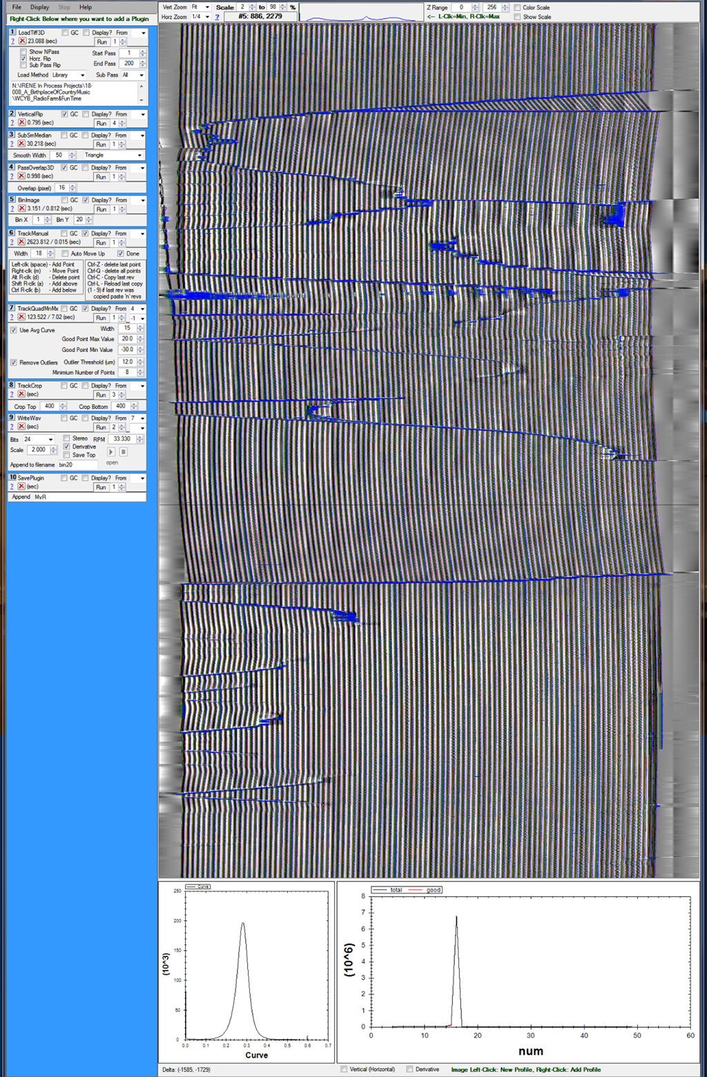 "A TIFF image of the grooves being processed for audio in the Weaver software after it has been ""manually tracked."""