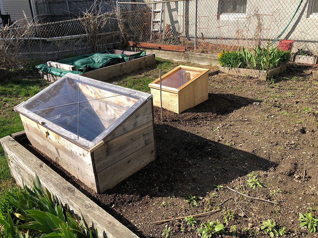 Built cold frames - avoided a trip to the hardware store! (AND the hospital!)