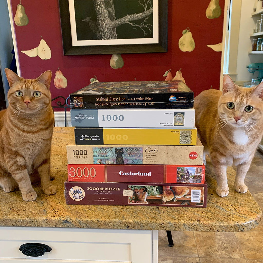 Cat Bookends... or in this case ... Cat Puzzle Ends!