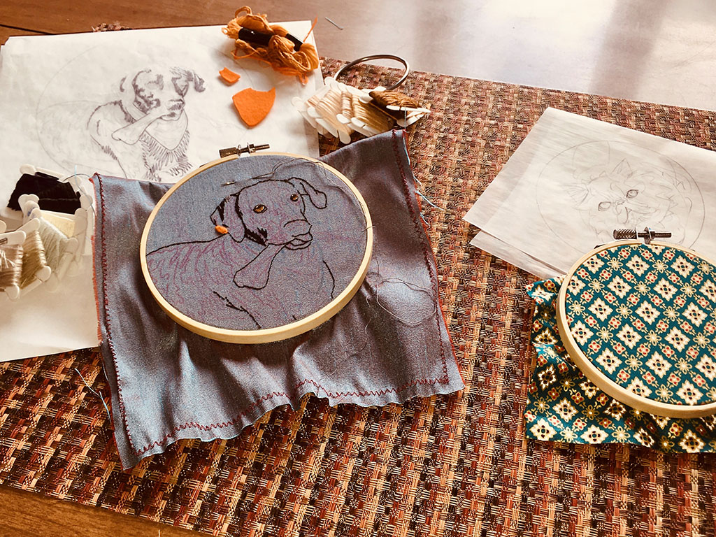 Beginning stages of two pet embroidery projects.