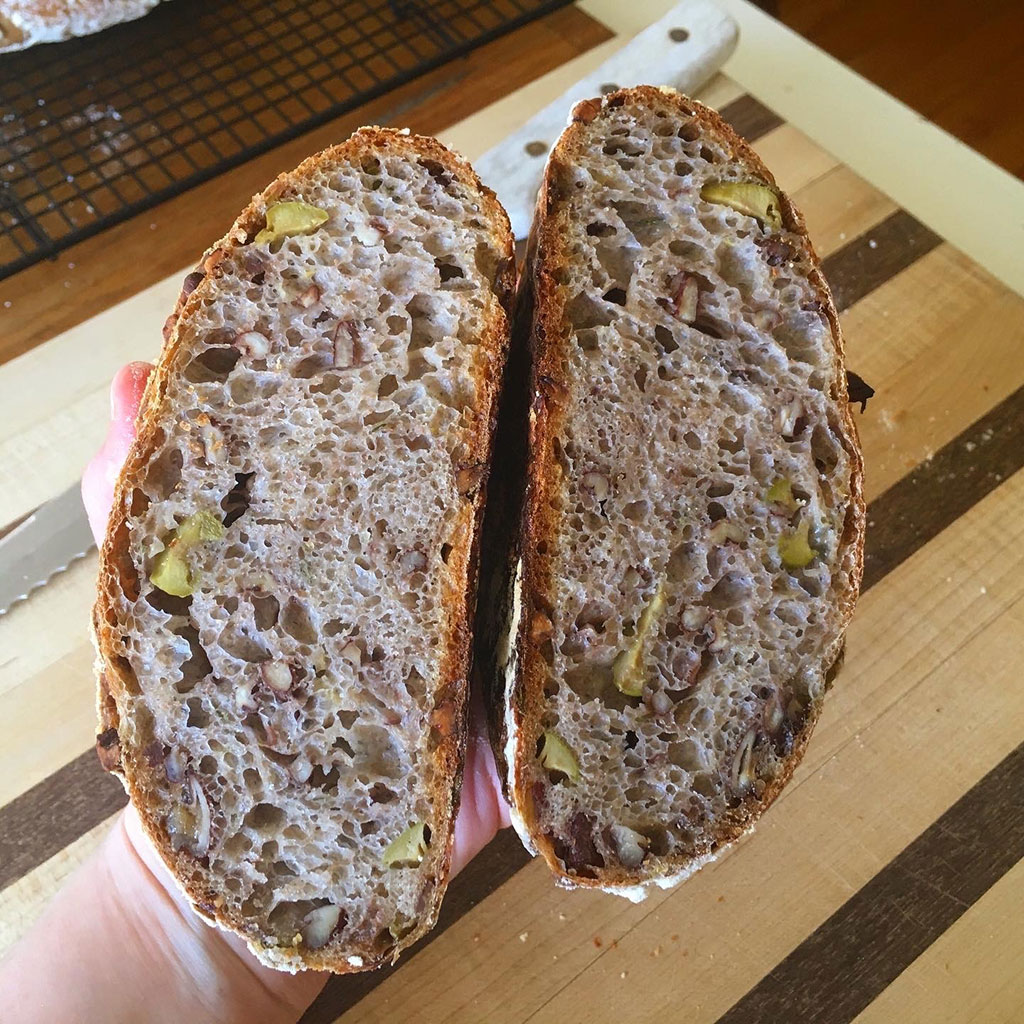Olive, lemon zest, fresh thyme, and pecan sourdough. [Editor's note: I can actually smell that!!!!]