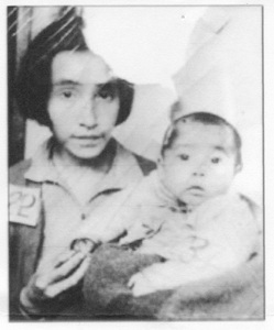 "Parascovia Lokanin and her daughter Tatiana on arrival at the Japanese internment camp in 1942. From the book, ""Attu Boy"" by Nick Golodoff. © Aleutian Pribilof Islands Association"