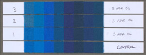 Blue Wool Card in strips and dated